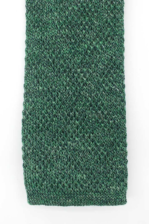 Linen and silk knit tie: green
