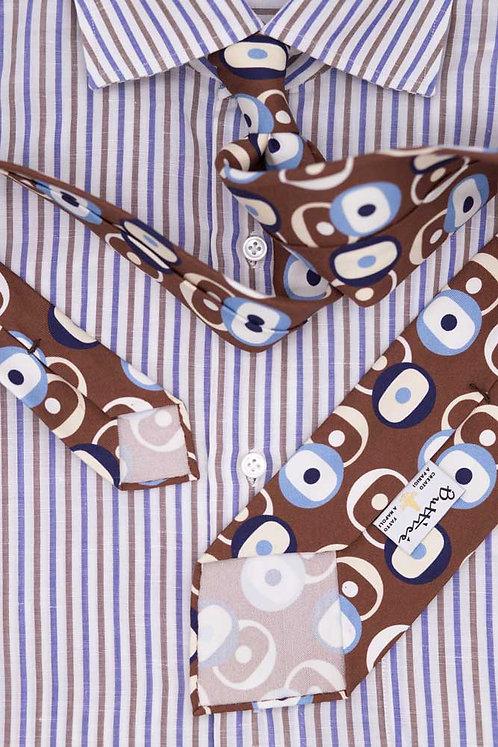 Cravate imprimée marron : motifs formes rondes bleues
