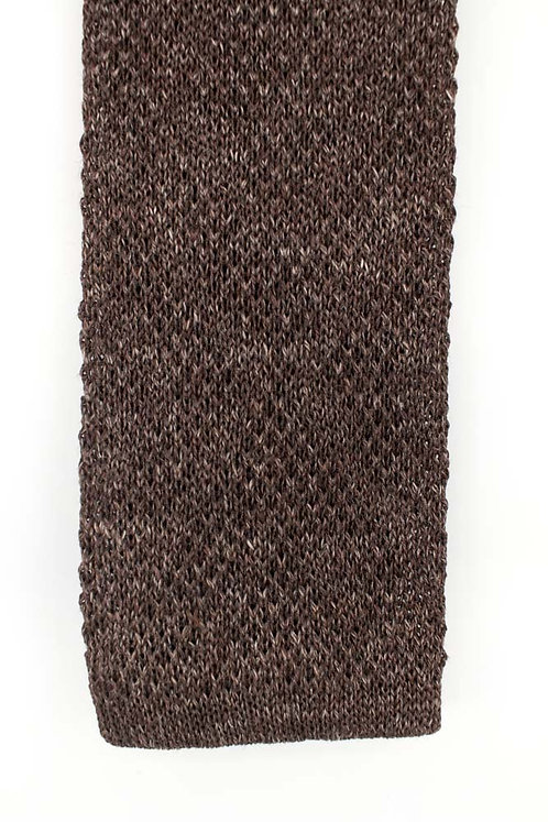 Linen and silk knit tie: brown