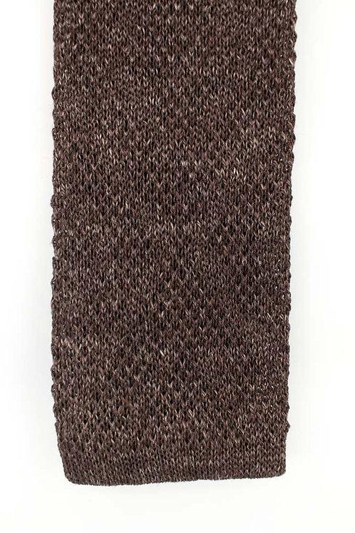 Cravate en tricot de lin et soie : marron