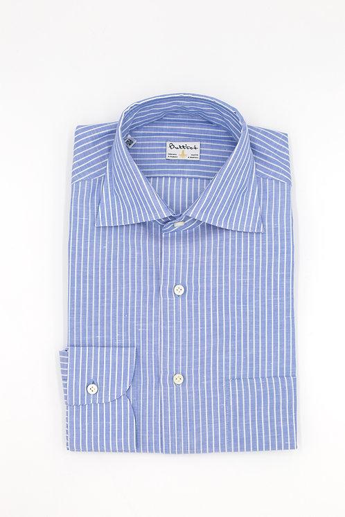 Chemise col italien tissu Grandi & Rubinelli coton et lin rayures : bleu