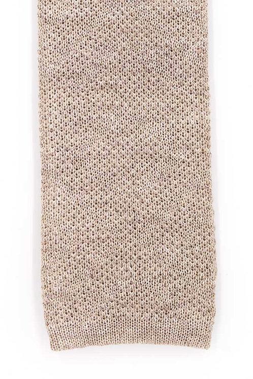 Cravate en tricot de lin et soie : beige
