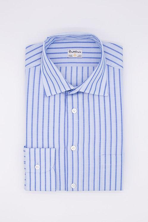Chemise col italien tissu coton et lin rayures : bleues