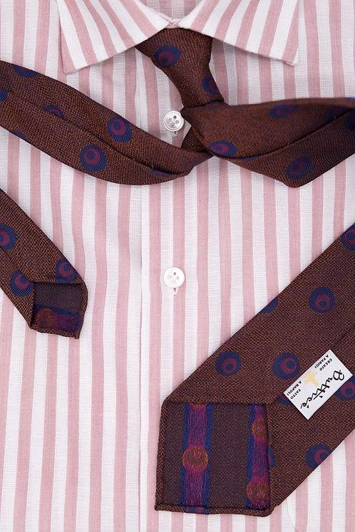 Cravate jacquard rouille : motifs ronds bleus et rouges