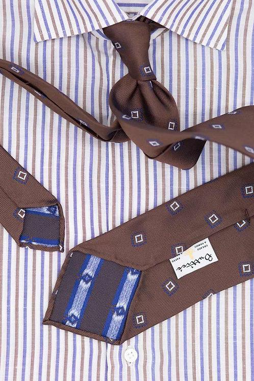Cravate jacquard marron : motifs carrés bleus
