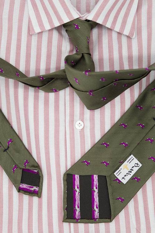 Cravate jacquard vert militaire : motifs lapins fuxia
