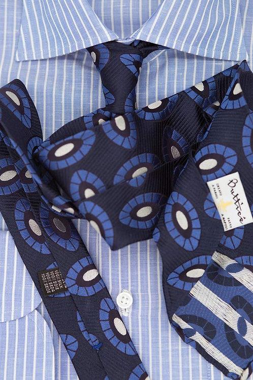 Cravate jacquard bleue : motif globule bleu électrique