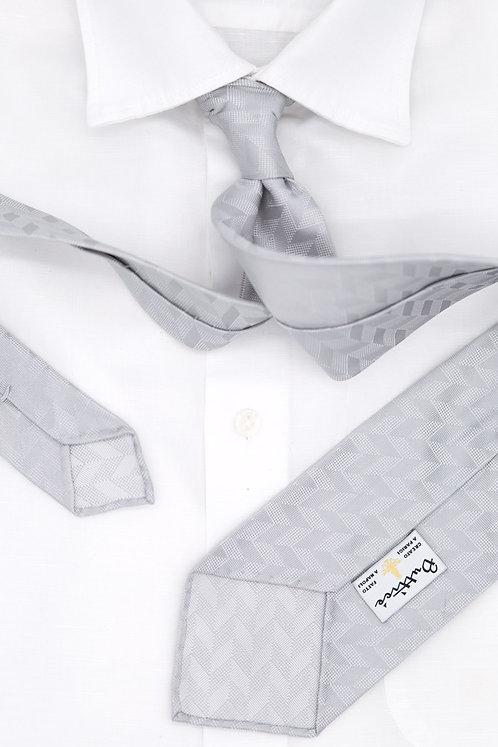 Cravate jacquard argent : motifs chevrons
