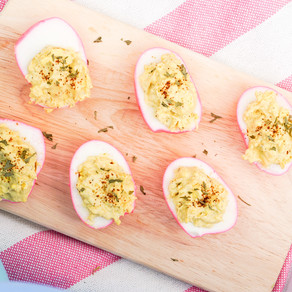 Pink Truffle Deviled Eggs
