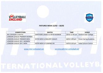 Fixtures Week 12/02 - 18/02