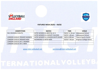Fixtures Week 29/01 - 04/02