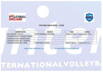 Fixtures Week 05/02 - 11/02