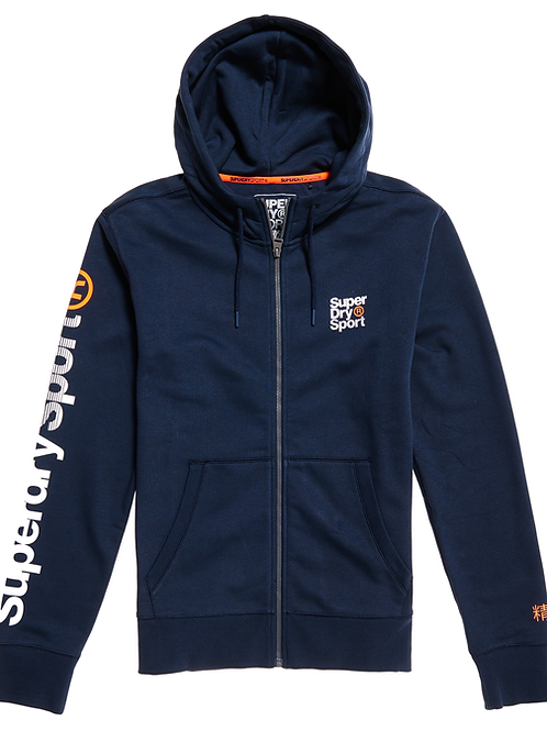 Superdry - Sweat à capuche zippé Sport bleu