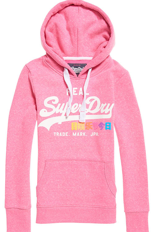 Superdry - Sweat à capuche Hoody logo Vintage rose