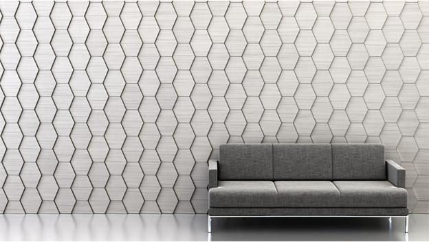 Shape: Slide | Pattern: Directional Repeat | Finish: Shimmer Ash