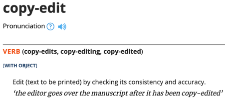 Image of dictionary definition of copy-edit from Oxford English dictionary.