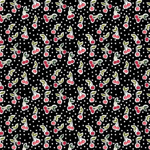 cherry dots op zwart