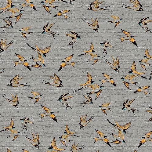 Tricot zwaluwen geel op grijs