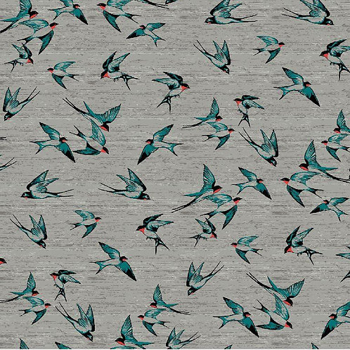 Tricot zwaluwen blauw op grijs