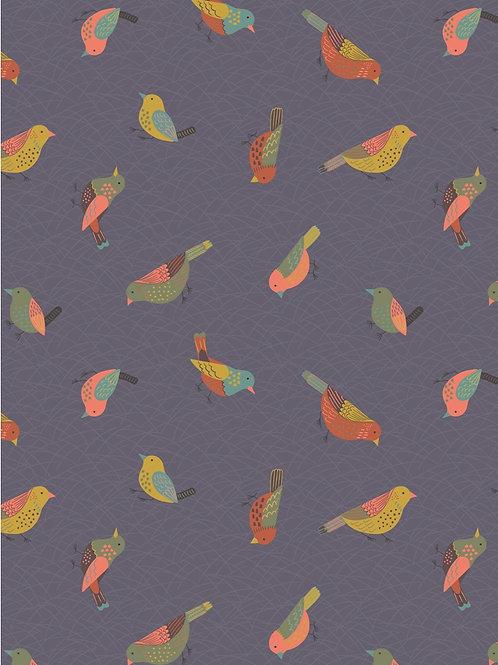 Vogels op grijsblauw Hedgerow