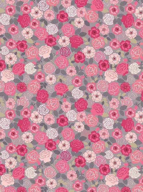 Roosjes roze/grijs