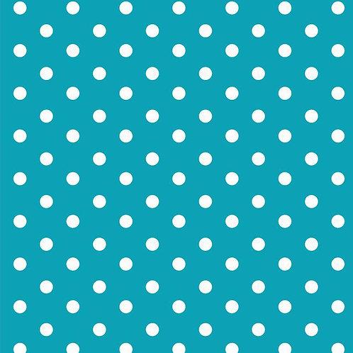 Polka dots wit op turkoise