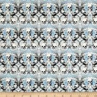 Tricot skulls blauw Alexander Henry