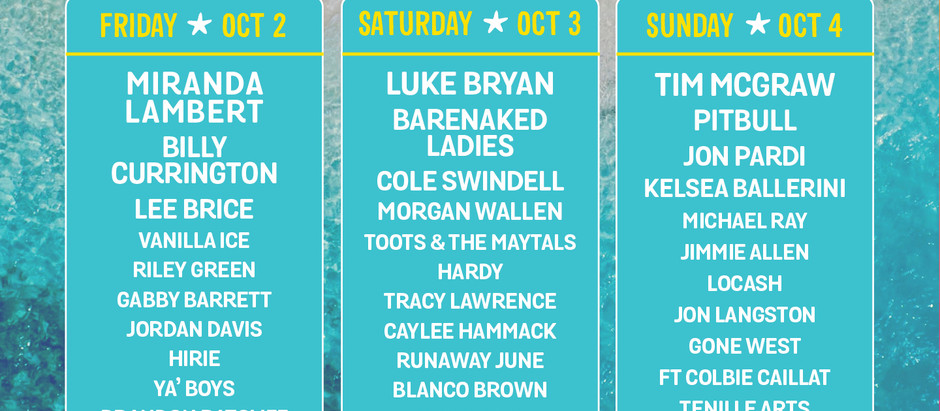 Tortuga Music Festival Rescheduled For Oct 2-4 w/ Luke Bryan, Miranda Lambert, Tim McGraw & More