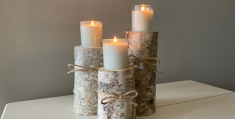 Tiered birch votive holders (set of 3)
