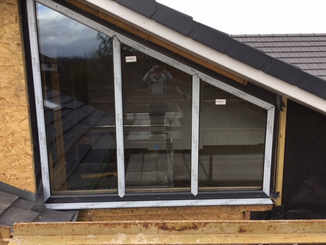 Feature window to rear of house fitted awaiting other finishes up to it.