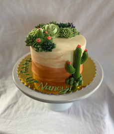 "6"" Cake with Buttercream Cacti and Succulents"