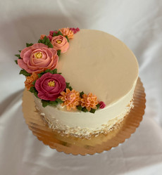 "9"" Cake with Toasted Coconut and Buttercream Flowers"