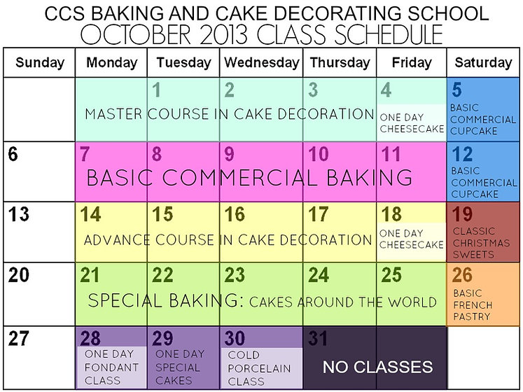 CCS Bakeshop Schedule of Classes, Avelina Florendo