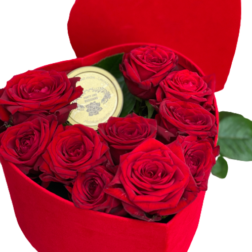 """Confezione regalo """"Cuore"""" con caviale 100 g e composizione floreale"""