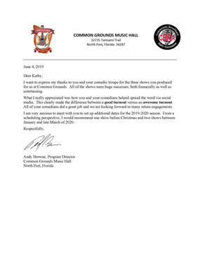Common Grounds, North Port  Letter of Re