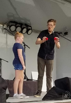 Logan at Pioneer days on stage
