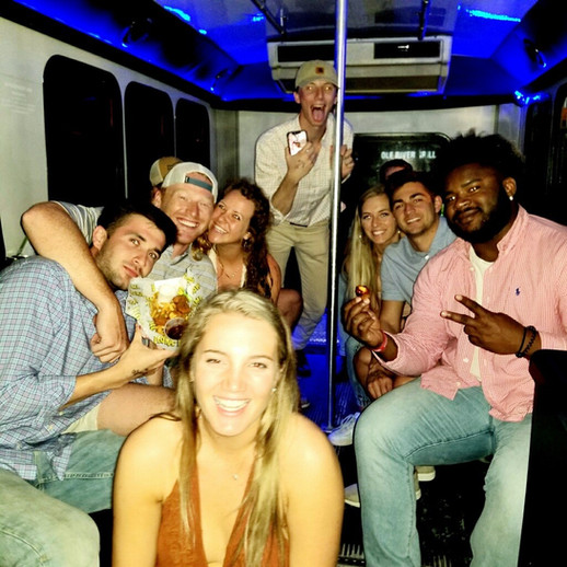 Friends on Party Bus