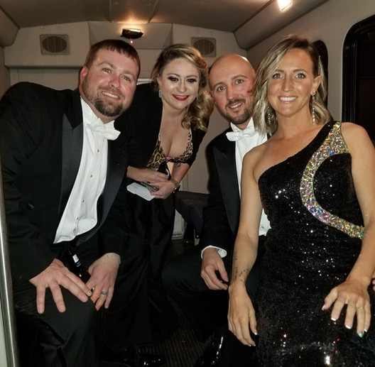 Group of Friends on Party Bus