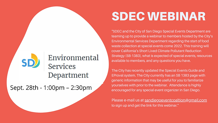 SDEC and the City of San Diego Special Events Department are teaming up to provide a webin