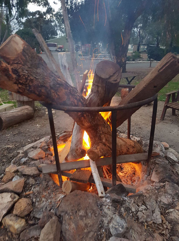 The Kojonup Caravan Parks fire is warm and welcoming