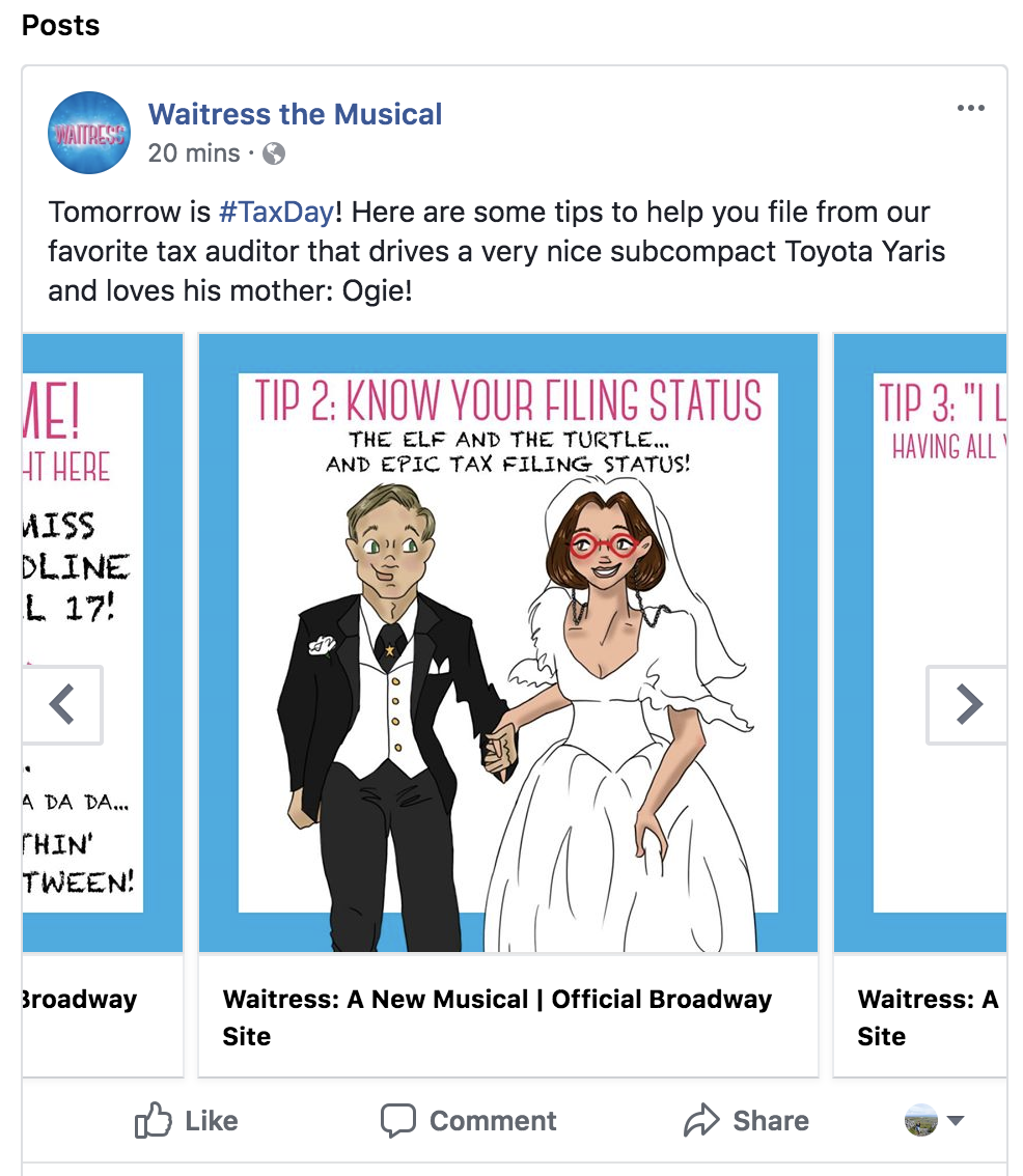 Waitress The Musical Tax Day Tips
