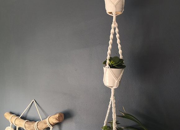 Mini macrame 3 tier plant hanger - recycled cotton
