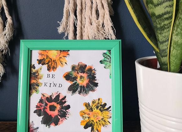 'Be kind' natural print - framed