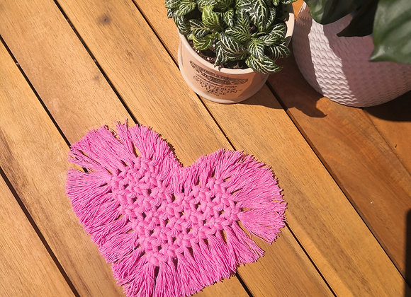 Pre-dyed cotton heart coaster - pack of 4