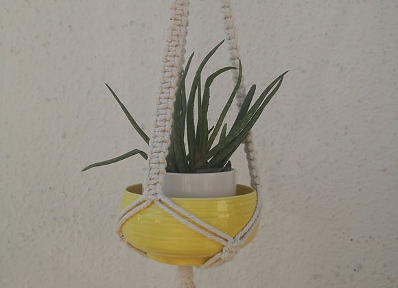 Recycled cotton Macrame plant hanger (70cm - square knot)