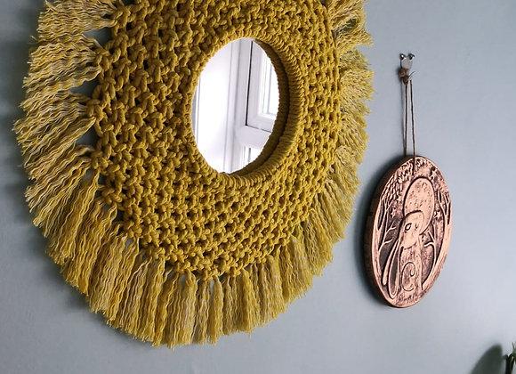 Circular macrame mirror