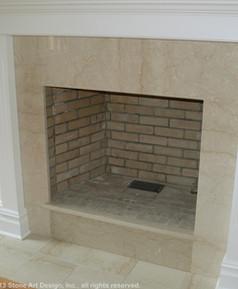 Botticino Classico marble fireplace surround