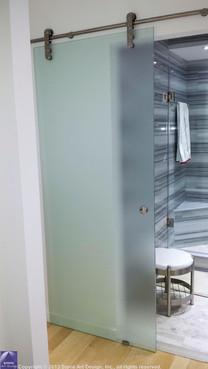 bathroom entry glass door