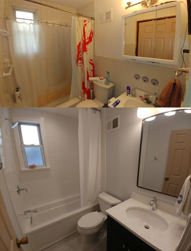 Bathroom before and after remodeling