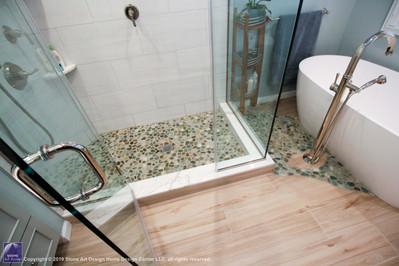 shower pebble floor